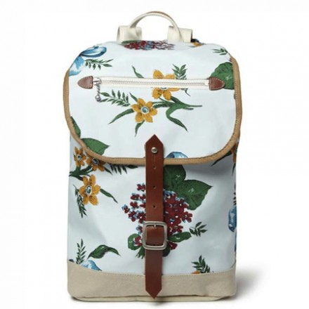 Junya Watanabe Leather-Trimmed Flower-Print Canvas Backpack