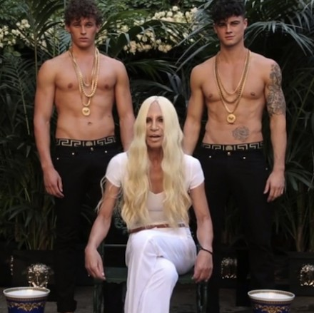 Donatella Versace with 2 boys – ALS Ice Bucket challenge