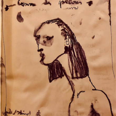 Julien d'Ys' hair style drawing for Comme des Garçons FW20